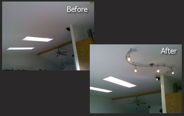 Track Lighting Installation before and after